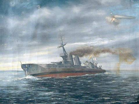 HMS Marlborough limping home from the Battle Of Jutland. Painting by Miller. Royal Marines Museum; (c) Royal Marines Museum; Supplied by The Public Catalogue Foundation