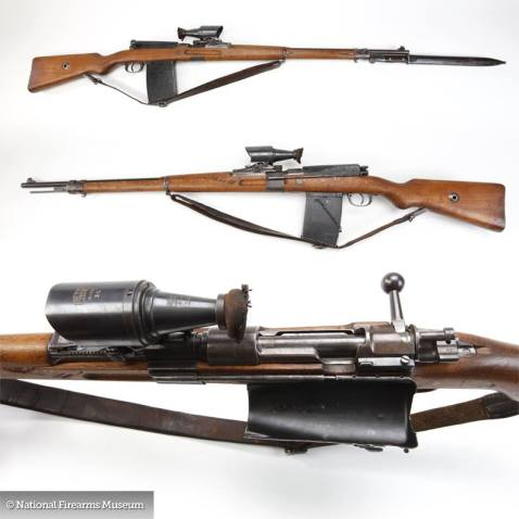 JP Sauer & Sohn Gewehr 98 Sniper Rifle with detachable Zeiss 2.5x monocular optical sight that superimposed a pyramidal aiming point in the field of view and trench mag 2