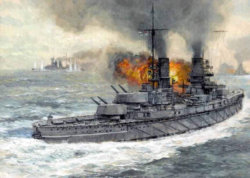 Jutland - SMS Kaiser fires a salvo against HMS Warspite