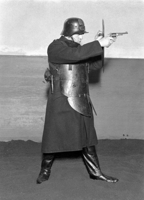 """Policeman in full gear, Warsaw's State Police (Policja Panstwowa m.st. Warszawy) Warsaw 1934. Photo Willem van de Poll"