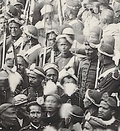 Nepalese troops in 1901, note the difference between these soldiers and the ones above in British service. These men still used Francottes and Gahendras to a degree