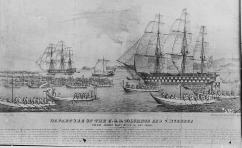 Photo #: NH 54485 Departure of the U.S.S. Columbus and Vincennes from Jeddo Bay, July the 29th 1846 Contemporary lithograph published by Wagner & McGuigan, based on sketches by John Eastly. It depicts USS Columbus (right), flagship of Commodore James Biddle, and USS Vincennes (left) being towed out of Jeddo Bay, Japan, by a fleet of Japanese small craft on 29 July 1846. The nine days these ships spent in Jeddo (Tokyo) Bay was the first visit made by the U.S. Navy to Japanese waters. Courtesy of Mrs. Macomb, Washington, D.C., circa 1920. U.S. Naval History and Heritage Command Photograph.