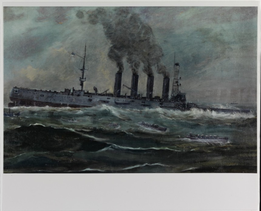 USS San Diego (Armored Cruiser No. 6) Painting by Francis Muller, 1920. It depicts the ship sinking off Fire Island, New York, after mined by the German submarine U-156, 19 July 1918. Courtesy of the Navy Art Collection, Washington, D.C. U.S. Naval History and Heritage Command Photograph. Catalog #: NH 55012-KN