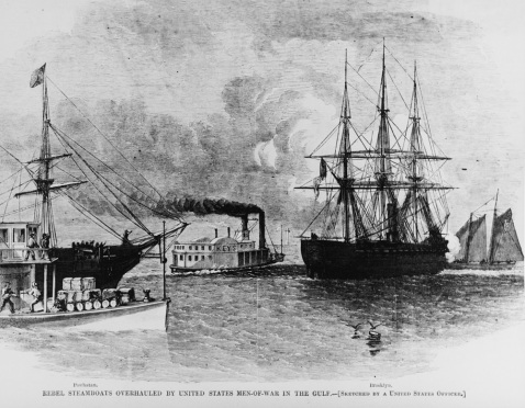 Photo #: NH 59568 Rebel Steamboats Overhauled by United States Men-of-War in the Gulf. Line engraving published in Harper's Weekly, 1861 depicting the capture of the Confederate steamers Dick Keys and Lewis by USS Powhatan and USS Brooklyn, off Mobile, Alabama, on 7 May 1861. U.S. Naval History and Heritage Command Photograph.