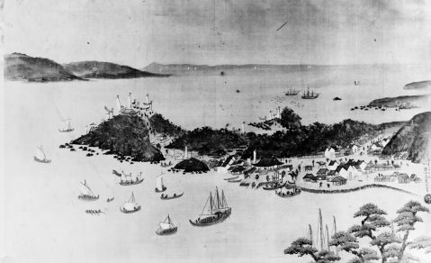 First U.S. Navy visit to Japan, July 1846 Description: Copy made by Mr. Renjo Shimo Oka from an original Japanese painting, depicting USS Columbus and USS Vincennes anchored in Yeddo (Tokyo) Bay, Japan, circa 20-29 July 1846. They were under the command of Commodore James Biddle, USN. U.S. Naval History and Heritage Command Photograph. Catalog #: NH 63523