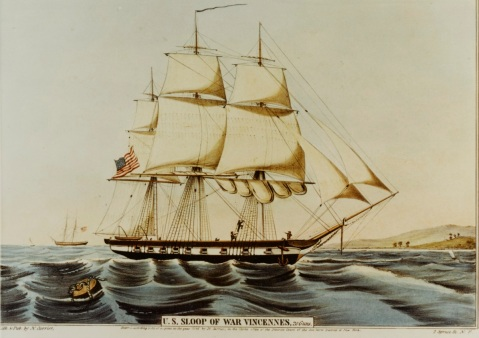 USS Vincennes (1826-1867) Colored lithograph published by N. Currier, 2 Spruce Street, New York City, 1845. Courtesy of the Naval Art Collection, Washington, D.C. U.S. Naval History and Heritage Command Photograph. Catalog #: NH 66524-KN