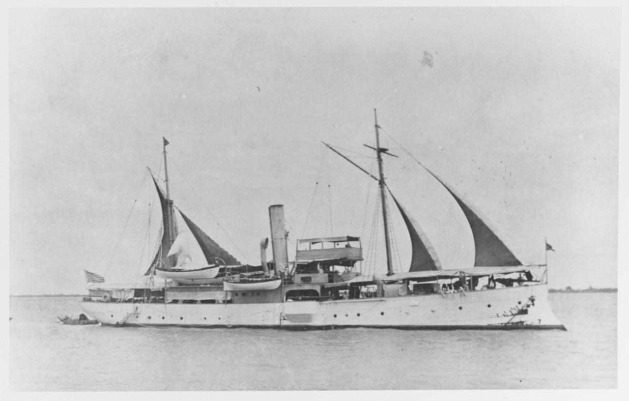 Airing her sails in Chinese waters during the 1920s. She was undoubtedly one of the last warships with canvas in the fleet. Description: Courtesy of Mr. Donald M. McPherson, Corte Madera, California, 1972. Catalog #: NH 75577