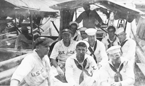 Ship's baseball team going ashore, in China, during the early 1920s. Description: Courtesy of Frederick Cornman, Valois, New York, 1971. Catalog #: NH 77142