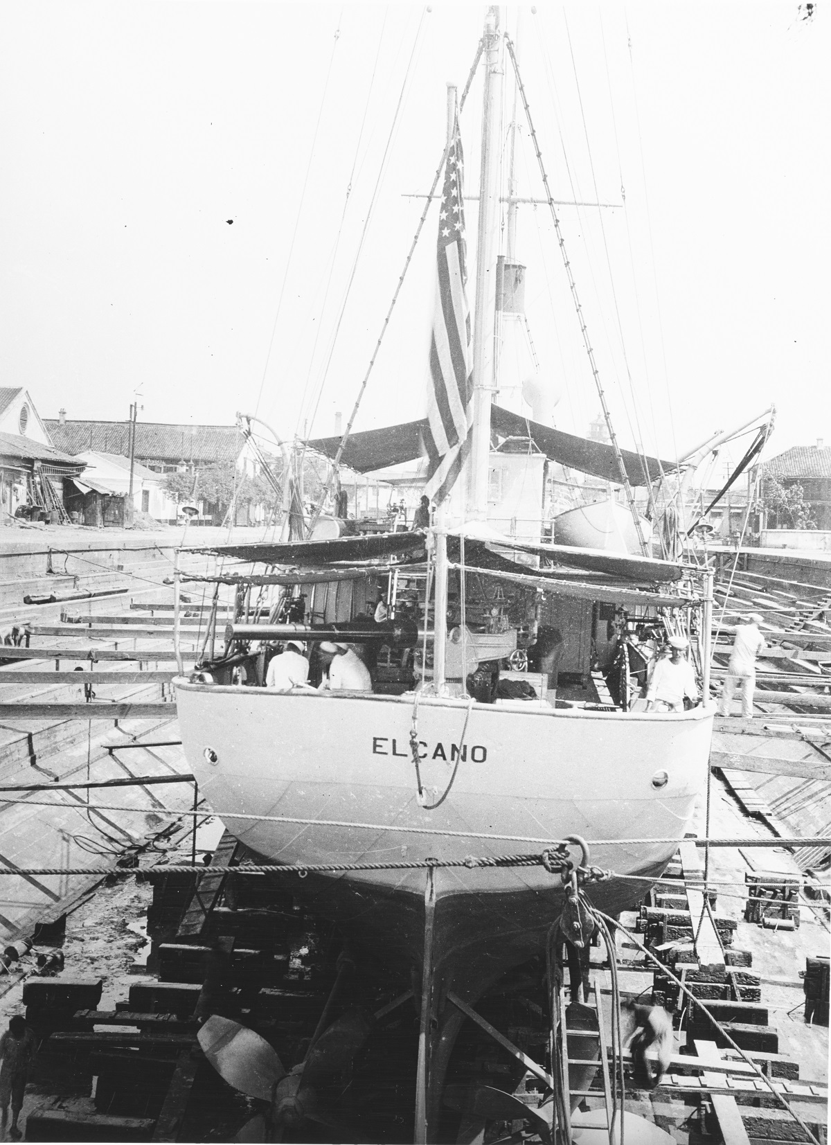 """In dry dock, at Shanghai, China, during the early 1920s. Note 4""""/40 gun. Description: Courtesy of Frederick Cornman, Valois, New York, 1971. Catalog #: NH 77143"""