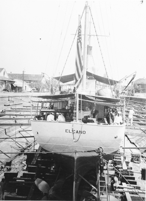 "In dry dock, at Shanghai, China, during the early 1920s. Note 4""/40 gun. Description: Courtesy of Frederick Cornman, Valois, New York, 1971. Catalog #: NH 77143"
