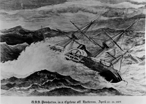 Powhatan Rides out a cyclone off Cape Hatteras, 13-14 April 1877. Print by G.T. Douglass. Copyright 1877 by E.H. Hart, New York. Description: Catalog #: NH 86042