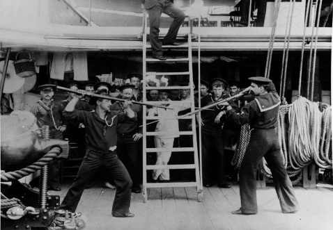 Bayonet exercise on board, 1870-89. Each ship of the period was expected to be able to land up to a third of their crew to fight ashore as light infantry. Description: Catalog #: NH 86055