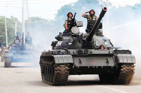 Nicaragua army T-55 main battle tanks...doing the parade thing