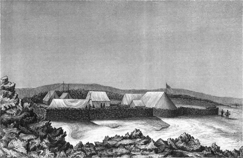 Wilkes made sure his ashore bases were carefully defended. The above sketch of the Wilkes Campsite at Mauna Loa is by Alfred Thomas Agate.