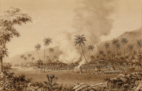 The American punitive expedition against Malolo, Fiji in 1840 by Alfred Agate. Some 60 bluejackets from the expedition carried out the raid