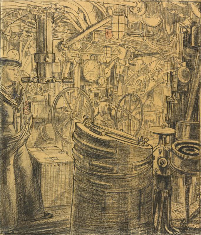 The Control Room. U155 (The Deutschland) Moored in St Katherine's Docks, London, December 1918 (iwm)