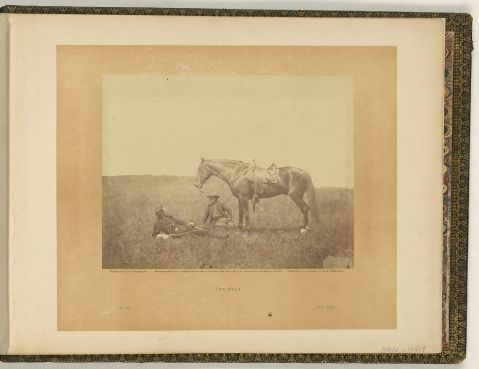 the Halt Captain Harry Page, quartermaster at Headquarters of the Army of the Potomac, his horse, and another man at rest, after locating a spot for camp