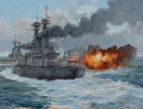 The HMS Bellerophon at Jutland, 1916 by Paul Wright