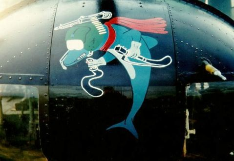 "The popular 174th Dolphin nose art by WO1 Richard Machina, June 1967. Photo by Jim McDaniel. Huey gunships in the 174th were termed 'Sharks"" and carried P-40 Warhawk Flying Tiger-style sharkmouth designs"