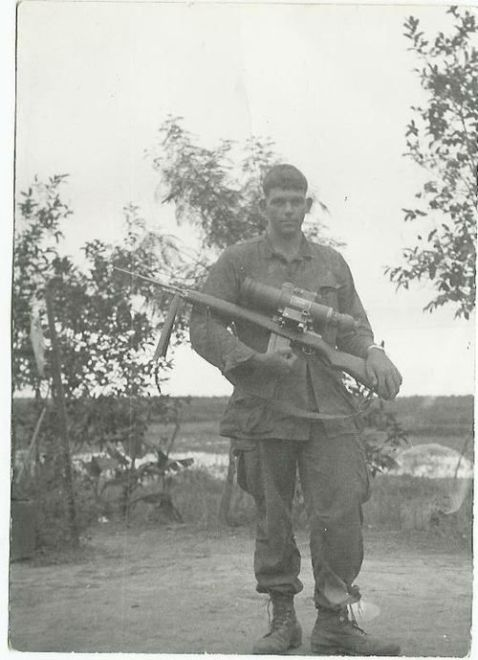 U.S. Army sniper (not Waldron) in Vietnam with a M21 sniper rifle and AN/PVS-2 scope