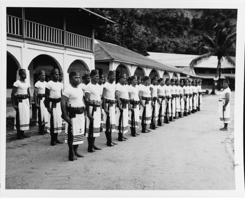 Fita-Fita Guard. The native Samoan Naval Guard Force is brought to attention by BMI/c Suitonu, USN, a veteran of 15 years on the force, March 1943. Naval Station in Samoa. Description:Catalog #: USMC 53188 Copyright Owner: National Archives
