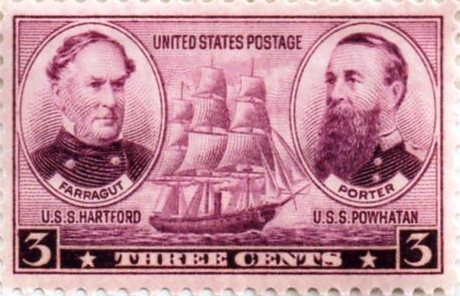 Both Admiral Farragut and Porter were remembered on a postal stamp along with their closely associated flagships-- including Powhatan
