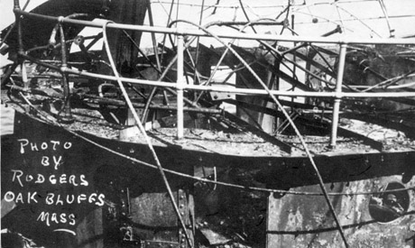 Damage suffered by Perth Amboy-- she would later go on to be sunk by a mine in WWII while in British service