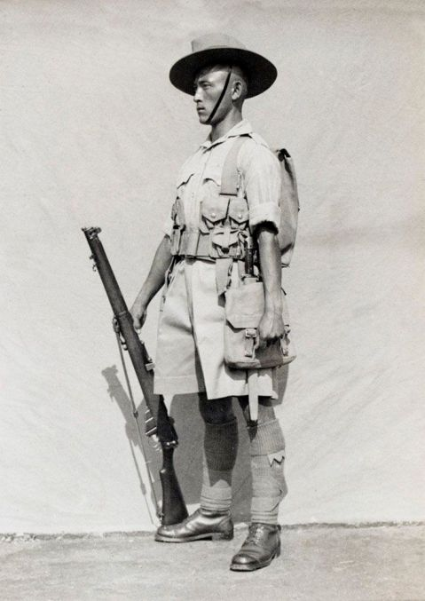 By 1919 and enduring for a half century or more, the Nepalese have used the SMLE, though the example shown is a very well equipped Gurkha in HMs service in WWII