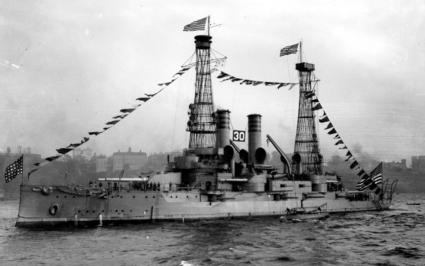 USS Idaho (Battleship # 24) Dressed with flags during the Naval Review off New York City, October 1912. Photograph from the Bureau of Ships Collection in the U.S. National Archives. The number 30 is her place in the review.