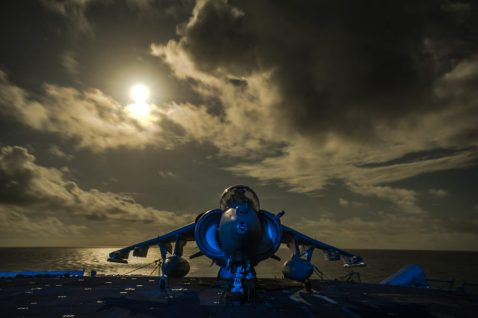 A U.S. Marine Corps AV-8B Harrier II aircraft assigned to Marine Medium Tiltrotor Squadron (VMM) 166 sits on the flight deck of the amphibious assault ship USS Boxer (LHD 4) in the Arabian Sea Oct. 20, 2013. The Boxer was underway in the U.S. 5th Fleet area of responsibility supporting maritime security operations and theater security cooperation efforts. (DoD photo by Mass Communication Specialist 3rd Class J. Michael Schwartz, U.S. Navy/Released)