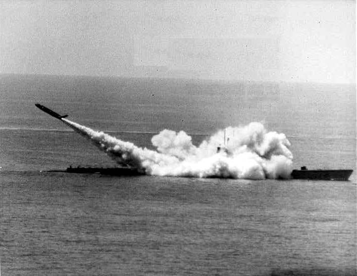 Barbero (SSG-317) with a Regulus missile exiting from launcher.