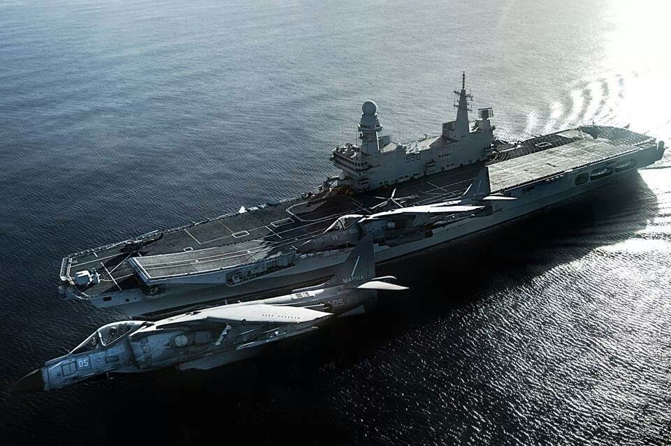 Cavour (550) aircraft carrier (CVH) is the flagship of the Italian Navy (Marina Militare) with Italian AV-8Bs