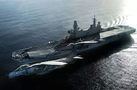Cavour (550) aircraft carrier (CVH) is the flagship of the Italian Navy (Marina Militare) with Italian AV-8Bs