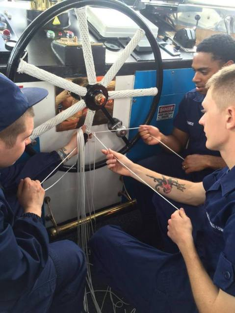 BM3 Schroeder instructs SN Pelchar, and SN Ramos in fancywork aboard CGC TACKLE (Photo: U.S. Coast Guard Northeast)