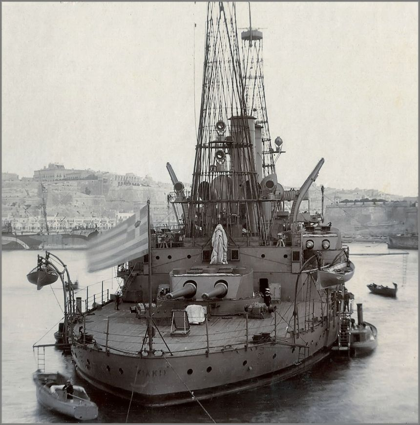 Greek predreadnought battleship Kilkis (former USS Mississippi), Grand Harbour, Malta 1917
