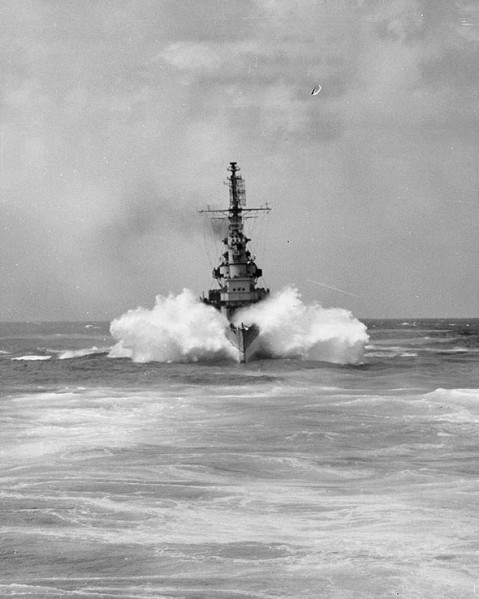The beautiful Cleveland-class cruiser USS Miami (CL-89) plowing through a wave during her shakedown cruise, 17 February 1944. She was everything the Sverdlovs were and more, but only saw 46 months of active duty before she was decommissioned on 30 June 1947-- before the first Svedlov was commissioned-- and only left red lead row in 1961 to be scrapped.