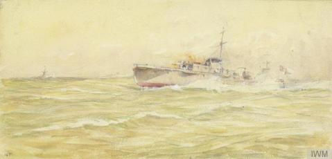 Motor Launches Engaging a Submarine. A motor launch at full steam, moving from right to left, with her bow lifting out of the water. Two figures on the deck are manning a light gun. Another motor launch is visible just behind. Both are moving quickly towards a German submarine that has surfaced, in the background to the left. The artist served in motor launched throughout the war, even while in work as a war artist, so this image was real life for him. IWM 148