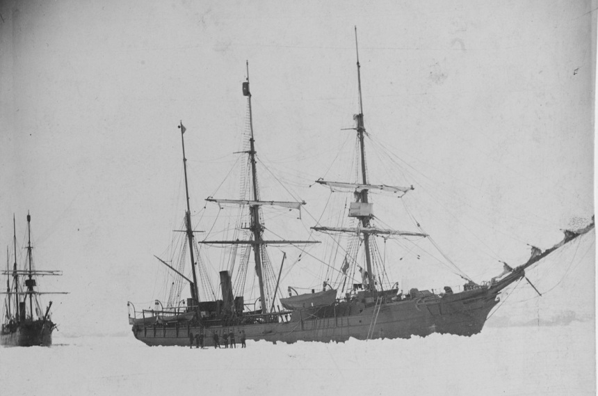 May - August 1884 USS Thetis (1884-1899) in the ice off Horse Head Island, Greenland on 4 June 1884, early in the search for survivors of the Greely polar exploration party. USS Bear (1884-1885, later AG-29) is astern (at left). U.S. Naval History and Heritage Command Photograph. Catalog #: NH 2145