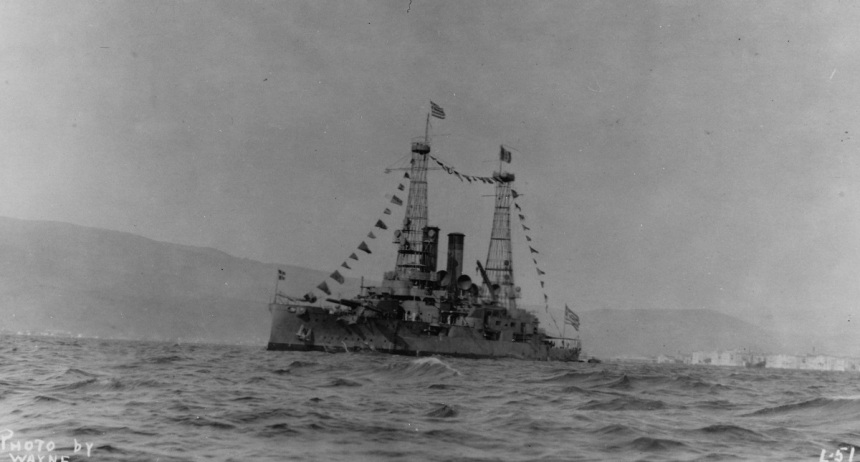 Lemnos Dressed with flags at Smyrna, Turkey, in 1919, possibly on 15 September. She is flying the Greek flag at the foremast peak and the Italian flag at the mainmast peak. Photographed by Wayne. U.S. Naval History and Heritage Command Photograph.Catalog #: NH 46707