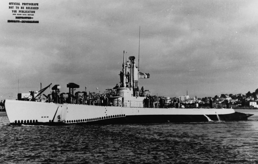 USS BARBERO (SSA-317) Caption: Off the Mare Island Naval Shipyard, Mare Island, California, September 1948, following conversion to a cargo carrier.Description:Catalog #: NH 90818