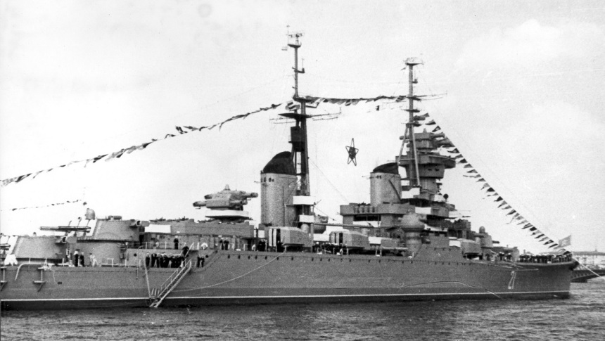Ordzhonikidze on parade in Leningrad, 1954. Note the pennants and giant illuminated red star in her rigging