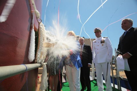 Sally Monsoor christens the future USS Michael Monsoor (DDG 1001)