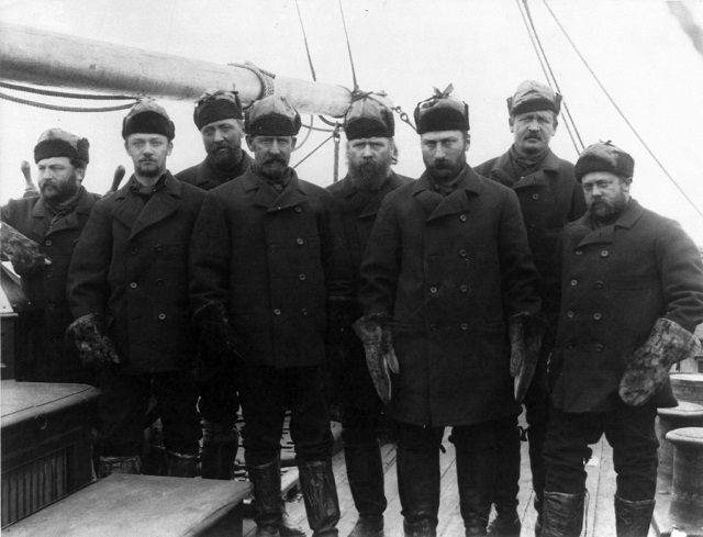 Schley (4th from left) and the crew that rescued the survivors of Adolphus Greely's expedition on Thetis June 1884