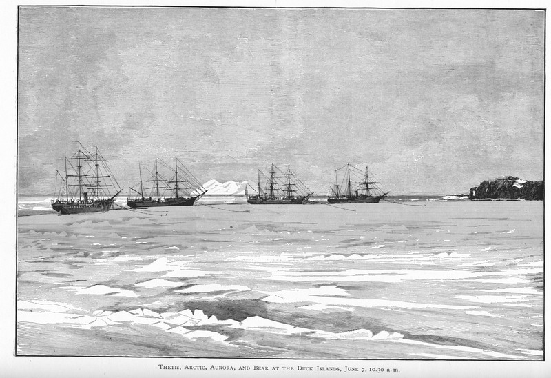 Thetis, HMS Aurora, SS Arctic, and USS Bear threading their way through the ice