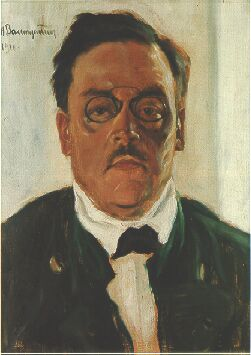 Portrait of Bavarian author Ludwig Thoma by Thomas Baumgartner 1912. This image was oddly enough used by a brand of beer and thus on beer steins in Munich for years.