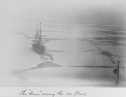 Bird's eye view from the crow's nest of the USS THETIS of the USS BEAR among the ice floes, 22 June 1884. Description: Courtesy of Ray Spear Catalog #: USN 900738