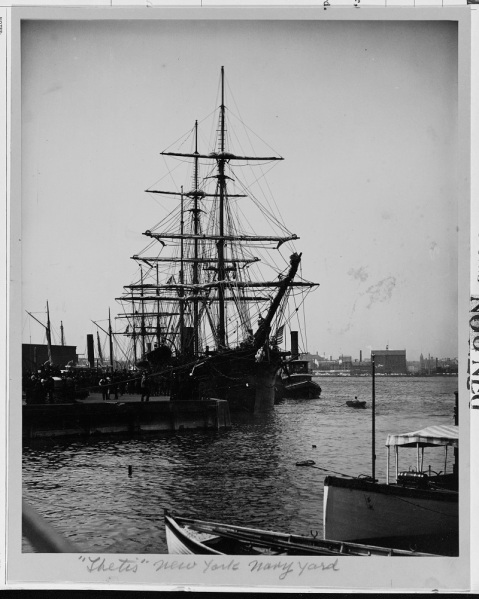 USS THETIS at New York Navy Yard, 1 May 1884. Description: Courtesy of Ray Spear Catalog #: USN 900793