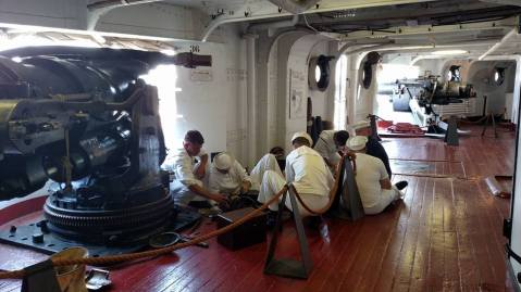 USS Olympia museum No 4 5 inch 51 broadside gun, used for demonstration, cleaned