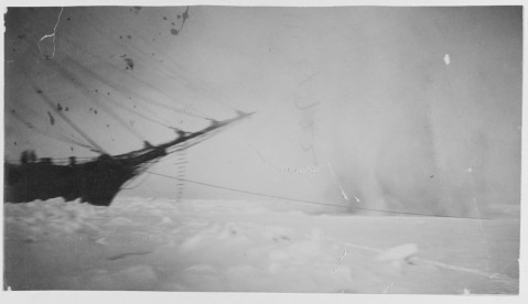 USS THETIS plows through ice by use of a torpedo explosion off Waigat Straits, Greenland, 4 June 1884. USN 900610