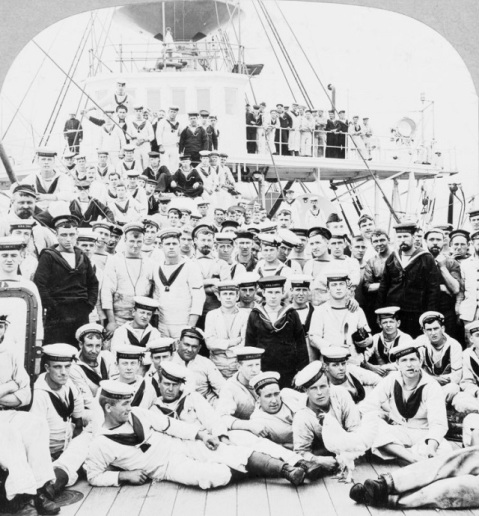 1902 Crewmen of HMS Terrible at Hong Kong.